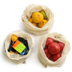Reusable Cotton Mesh Grocery Shopping Produce Bags Vegetable Fruit Fresh Bags Hand Totes Home Storage Pouch Drawstring Bag For Free