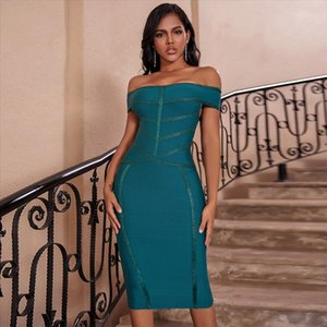 Vestido Bandage 2020 New Arrival Green Sexy Off the Shoulder Bandage Dress Bodycon Celebrity Club Evening Party Dress