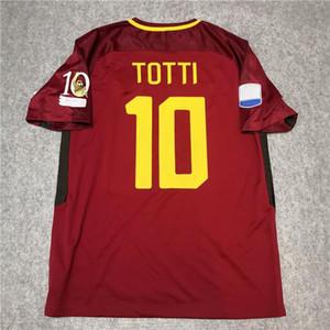 أعلى 2017 2018 الرجعية كما روما لكرة القدم جيرسي توتي دي روسي Dzeko Nainggolan 17/18 كرة القدم قميص رياضي