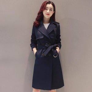 QPIPSD Windbreaker Женская длинная секция 2020 весна Корейский тонкий тонкий двойной погружной модный темперамент пружины и осенний прилив