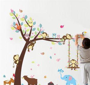 Cartoon Animals Tree Wall Stickers For Kids Room Decor Nursery Monkey Elephant Owlets Safari Mural Art Diy Chi jllPvq xmh_home