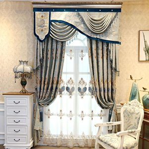 Jacquard Fabric Royal Luxury Embroidery Blackout Curtain European Tulle Curtains Bedroom Living Room Bay Window Home Decor