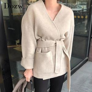 Women Solid Woolen Coat Elegant V Neck Bandage Jacket Female Batwing Long Sleeve Loose Pocket Coat Lady Outerwear