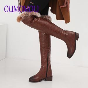 plarform Russland Stiefel weichen PU-Leder Pelzmode über das kniehohe Stiefel Frau warmen Plüsch abgerundeter Spitze Winter Schnee
