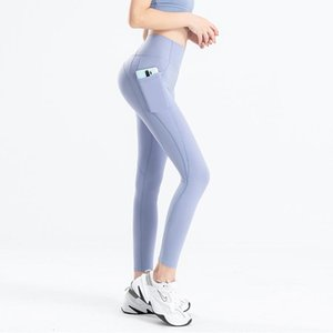 Women Yoga Pants Fitness Exercise Mat Matte Nude Side Pocket Peach Hip Tights Sheer Yoga Pants Women Joggers Sexy Yoga Pants 01