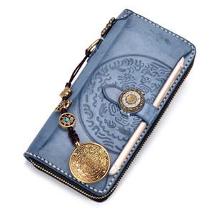 Cheap Blue Misty Wax Wallets Embossing Bag Purses Women Men Long Clutch Genuine Leather Wallet Card Holder