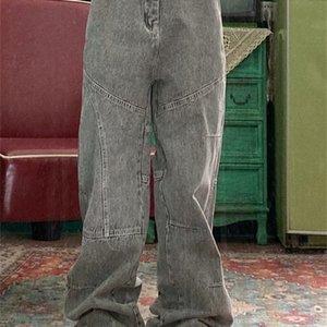 Street Hip Hop Retro Bonito Solto Oversized Yuppie Paizinho Longo Jeans Homens e Mulheres Trend J1207