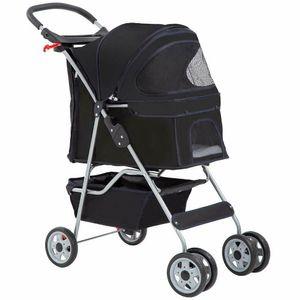 4 Wheels Pet Stroller Cat Dog Cage Stroller Travel Folding Carrier 5 Color 04T