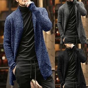 Ultime Blue Winter Warm Mens Cardigan Long Maglione Casual Maglia maglioni per uomo Moda Solid Color Autunno Cappotto Cappotto Cappotto Cappotto