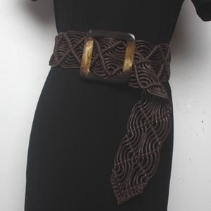 2020 New Vintage Bohemian knitted leather belt for women wide belt Casual female braided bondage dress straps accessory