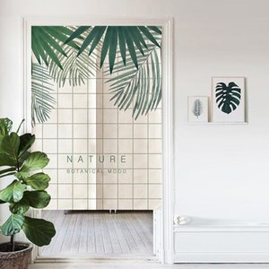 Nordic Green Leaves Door Curtain Bedroom Kitchen Bathroom Feng Shui Curtain Japanese Half Partition Noren