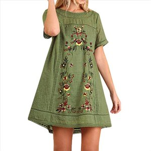Women Cotton Line Embroidered Tunic Dress Summer Bohemian Short Sleeve Loose Mini Dress Ladies Swimwear Plus Size 5%