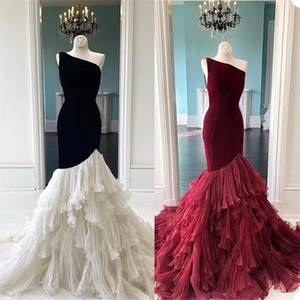 Gorgeous Evening Dresses Luxury Velvet Ruffles Tulle Prom Gowns One Shoulder Sleeveless Chic Custom Made Formal Pageant Party Dress