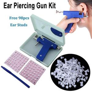 Pro Pistola Piercing Pro Con 98pcs Studs Kit Juego Juego Oído Nariz Ombligo Cuerpo Piercing