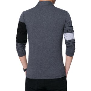 BROWON Autumn Fashion Plus Size 5XL Mens T Shirt with Collar Color Patchwork t-shirt Long Sleeve Tshirt Men Clothes 2019 T200111