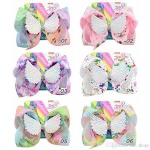 8 дюймов Unicorn Siwa Hair Bows Angel Wings Hairpin Baby Girls Hair Clip Floral Print Bowknot Barlettes Girl Hairclip Аксессуары для волос