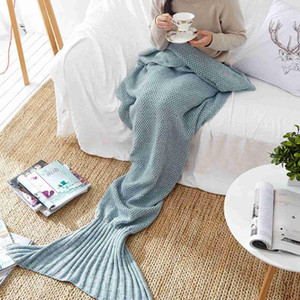 Mermaid Tail Blanket knitted Crochet for Adult Childern Super Soft All Seasons Sleeping Blankets 8 Colors Fashion Style