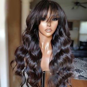 Lace Front Wig Peruvian Remy Full Fringe Wig Human Hair Glueless Silk Top Lace Wig With Bangs Bleached Knots For Black Women