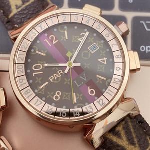 En Yüksek Kalite Elbise Saatler Yeni L. V Lüks Erkek Bayan Saatler 38mm Moda Dial Deri Kuvars İzle Kadın Saat Relógio Montre Kutuları