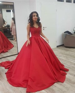 Elegant Red Evening Dresses Deep V Neck Lace Appliques Ball Gown Sleeveless Gorgeous Long Prom Party Gowns Quinceanera Dress