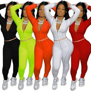 Women Tracksuit Two Pieces Set Casual Long Sleeve Leggings Outfits Solid Color Ladies New Fashion Plus Size Jogging Clothing Hot Selling