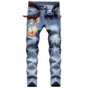 Denim Designer Men S Motorcycle Jeans de alta calidad Ripped para los hombres Tamaño 28-38 40 42 2020 Otoño Primavera Hip Hop Punk Streetwear