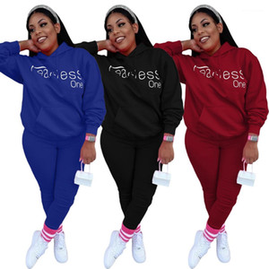 Pocket Hoodies Fashion Casual 2PCS Set Sexy Suits Women Clothing Womens Two Piece Pants Letter Print Big