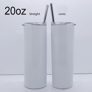 20oz Sublimation Straight Taper Skinny Tumbler 20oz Stainless Steel Blank White Skinny Cup With Lid Straw Cylinder water bottle Coffee Mug