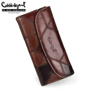 Cobbler Legend Gerçek Deri Kadınlar Moda Debriyaj Cüzdan Bayan Tasarımcı Uzun Coin Çanta Telefon Çanta Bayanlar Kart Sahibi C1115 için