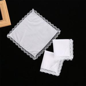 25 cm pizzo bianco fazzoletto sottile 100% asciugamano di cotone donna regalo di nozze decorazione del partito decorazione del tovagliolo del panno del tovagliolo fai da te fazzoletto vuoto del fazzoletto vuoto DBC 219 G2