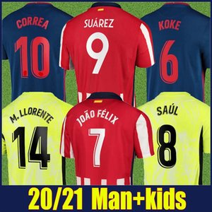 2020 Athletic Joao Felix Soccer Jersey Suarez Football Jersey M.llorente Koke Saul Red Bianco Shirt a righe Bambini Kit Camiseta Los Colchoneros