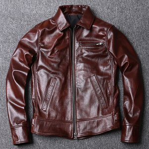 Spring Special Offer Men's Cow Leather Oil Wax Genuine Leather Clothes Short Slim Fit Biker Leather Jacket Wine Red Coat Men