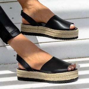 Plate-forme sandales chaussures femme femmes sandales été femmes chaussures tissées de sandalias épaisses-fond sandalias eleaux talons romains Mujer