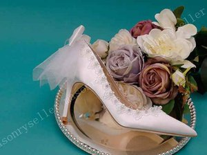 2021 Silk Women &#039 ;S Pointed High Heel Wedding Shoes With Soft White Bow 18 Wedding Fairy Shoes With Thin Heels Satin Bride Shoes