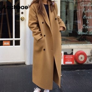 Aachoae Casual Black And Khaki Coat Women Long Sleeve Office Wear Elegant Long Coats Double Breasted Wide Waisted Pocket Coat