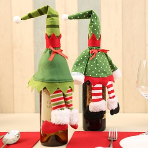 Green elf wine Bottle cover Christmas Decorations bottle case bags For Party Home Decor fashion drop ship