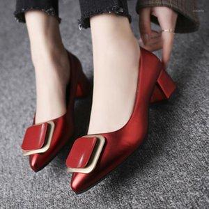 2020 Pompe da donna Donna Mid Tacchi a punta femminile Punta Metallo Punta Metallo Elegante Signore Ufficio Solid Shoes Decor Calzature Plus Size1