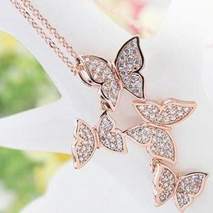 Women Jewelry Trend Charming Dazzling Zircon Four Butterfly Pendant Necklaces Choker 925 Sterling Silver Jewelry