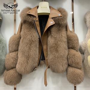 Fashion Real Fox Piel Abrigos con piel de oveja genuina Cuero Senderista Natural Fox Chaqueta Outwear Outwear Mujeres de lujo 2020 Invierno Nuevo CX200817