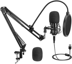 Podcast PC Microphone, LP Gaming Streaming Recording Studio Microphone Kit, 192KHZ 24Bit USB Plug & Play Cardioid Condenser PC Mic