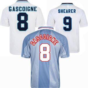 1996 England Retro Soccer Jersey Gascoiigne Shearer McManaman Southgate Classic Vintage Vintage Sheingham 96 98 Home Elevé Beckham Football Shirt