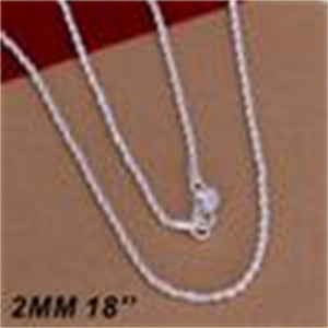 Women Silver BeautyTop Sterling Men Quality 925 Twist ROPE Chain Necklaces 2MM 16inch 18inch 20inch 22inch 24inch