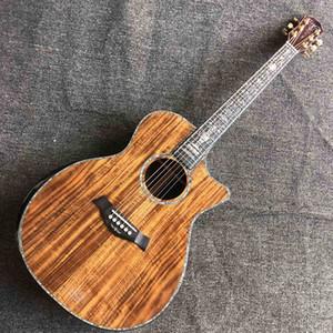 Custom All Solid KOA Wood Real Abalone Binding Ebony Fingerboard Acoustic Guitar Solid Rosewood Back Side Cutaway KOA Guitar