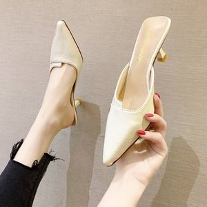 Hot Sale-Beige Khaki Pu Leather Mules Shoes Women Pointed Toe Slippers Summer Fashion High Heel Closed Toe Slippers Women Sandals 2020