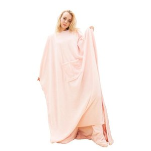 Winter Sherpa Blanket Ultra Plush Blanket Pink Blue Red Home Warm Flannel Blankets Pullover Night Robe with Roomy Pocket