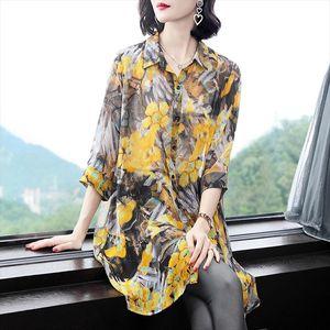 2020 spring summer new loose long shirt fake silk print shirt women yellow red Floral plus size 4xl long blouse