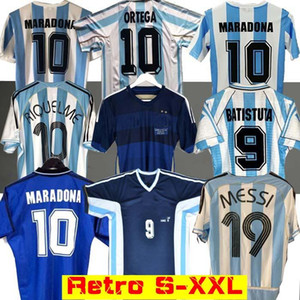 Retro 1986 Argentina Soccer jersey Messi Maradona CANIGGIA 1978 1996 Football Shirt Batistuta 1998 RIQUELME 2006 1994 ORTEGA CRESPO 2014