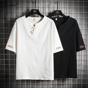 Japanese Style Suits Kimono Cotton And Linen Short-Sleeved T-shirt Male Japan Harajuku Yukata Cardigan Chinese style Costume