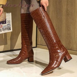 Meotina Long Boots Women Shoes Slip On Thick Heels Knee High Boots Square Toe High Heel Fashion Lady Autumn Beige Size 40