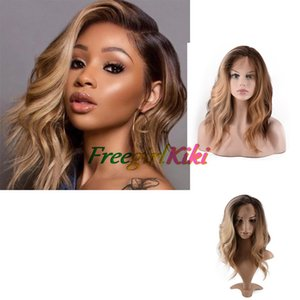 Ombre Color Brown and gold Body wave Synthetic Wigs Lace Front Natural looking with soft handfeeling wholesale bussiness